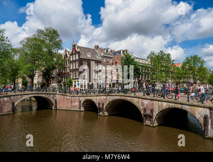 Keizersgracht and Leliegrach Canals and Bridges, Amsterdam, North Holland, The Netherlands - Stock Photo