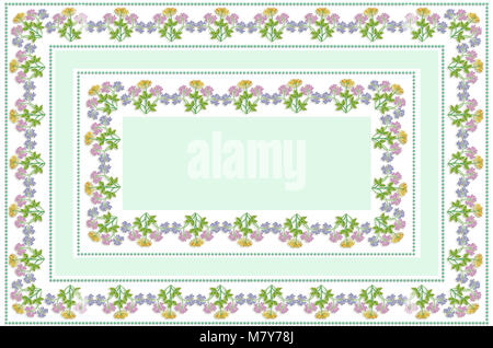 White tablecloth with pale green insert in the center of bouquets with lilac, purple and yellow asters - Stock Photo