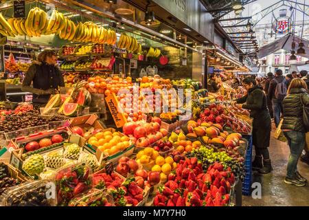 Fresh fruit and vegetable stall at Boqueria market, Barcelona, Catalonia, Spain - Stock Photo