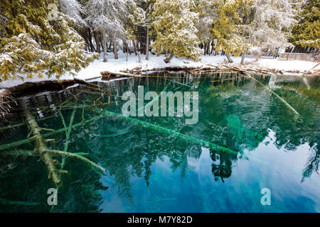 Kitch-iti-kipi Springs in the Upper Peninsula of Michigan, also known as the Big Spring at Palms Book State Park, - Stock Photo
