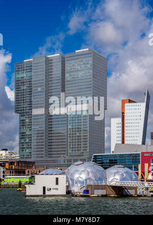 Kop Van Zuid Skyline seen from Rijnhaven, Rotterdam, South Holland, The Netherlands - Stock Photo
