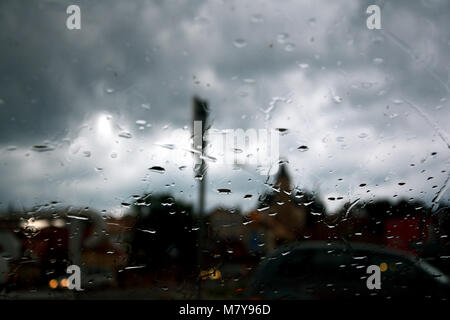 Water drops on the car glass - Stock Photo