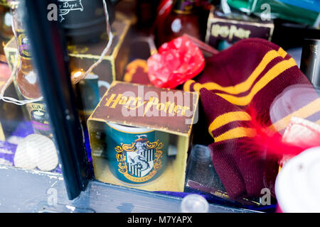 The Shambles, York 16th February 2018. J K Rowlings Harry Potter merchandise including a mug and hat in the Harry - Stock Photo
