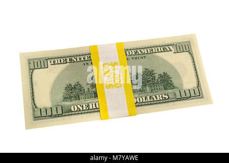 Banded one hundred dollar bills back side - Stock Photo
