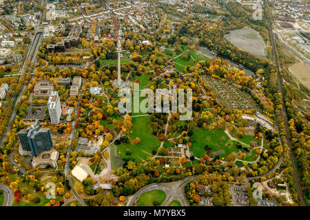 Aerial view, Westfalenpark Dortmund with colorful autumnal beds, autumn, autumn foliage, Golden October, Indian - Stock Photo