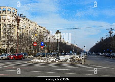 Bucharest, Romania. February 3, 2017. Old Clock at Union Boulevard (Bulevardul Unirii) - Stock Photo