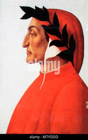 Dante. Portrait of Dante Alighieri (1265-1321) by Sandro Botticelli, c.1495 - Stock Photo