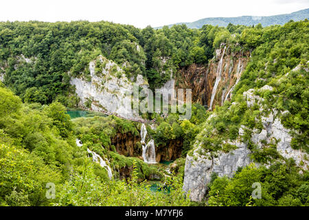 Plitvice, Croatia, July 13 2017: Breathtaking view of the valley with many waterfalls in Plitvice Lakes National - Stock Photo