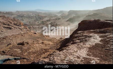 View of the Cordillera de la Sal, white Salt emerging from the Rocks, Saline Mountains in the Atacama Desert, Andes - Stock Photo