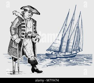 Pirate or captain man on ship traveling through the oceans and seas. Marine adventure of a sailor. hook and sailboat. - Stock Photo