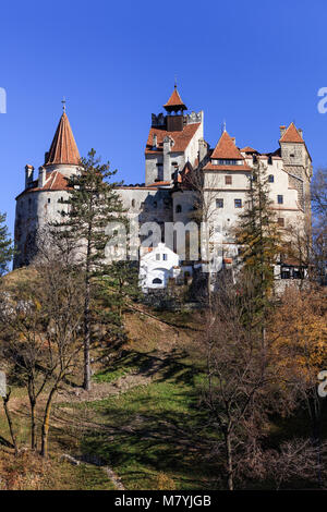 The medieval Castle of Bran known for the myth of Dracula. Brasov Transylvania. Romania - Stock Photo