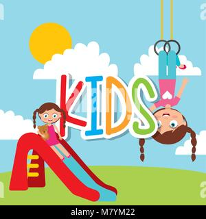 kids playing cartoon - Stock Photo