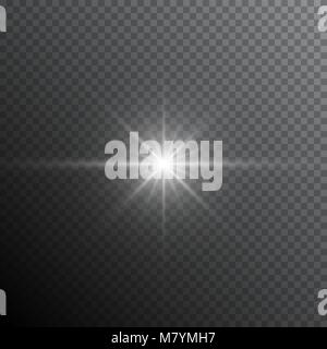 Glow light lens flare special effect. Shiny starburst with sparkles. Transparent sun flash with spotlight and rays - Stock Photo