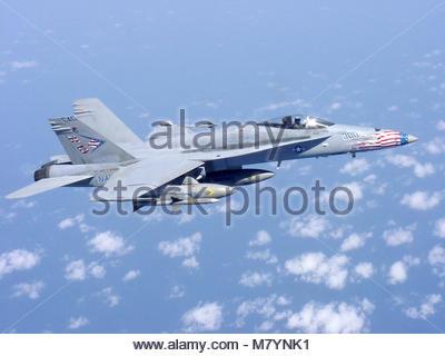 McDonnell Douglas (now Boeing) FA-18C Hornet. At sea with USS John C. Stennis (CVN 74) Apr. 11, 2002 -- An F/A-18 - Stock Photo