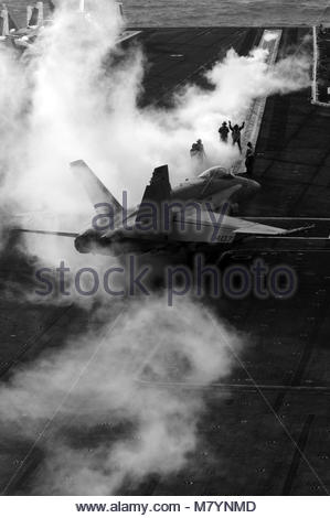 McDonnell Douglas FA-18C Hornet assigned to Strike Fighter Squadron 25. An F/A-18C Hornet assigned to Strike Fighter - Stock Photo