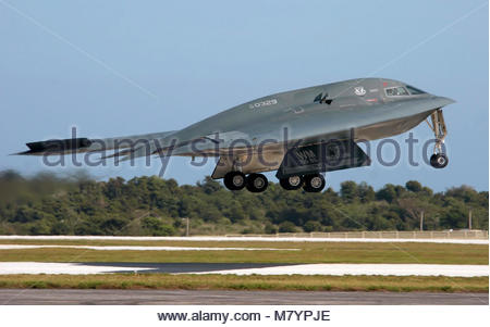 Northrop Grumman B-2 Spirit. A B-2 Spirit, from the 509th Bomb Wing at Whiteman Air Force Base, Mo., takes off for - Stock Photo