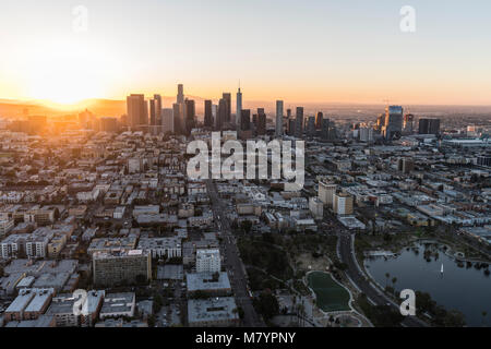 Los Angeles, California, USA - February 20, 2018:  Aerial morning view east on 6th street in the Westlake neighborhood towards downtown LA. Stock Photo
