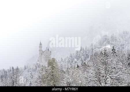 Neuschwanstein Castle in winter landscape. a nineteenth-century Romanesque Revival palace on a rugged hill above - Stock Photo
