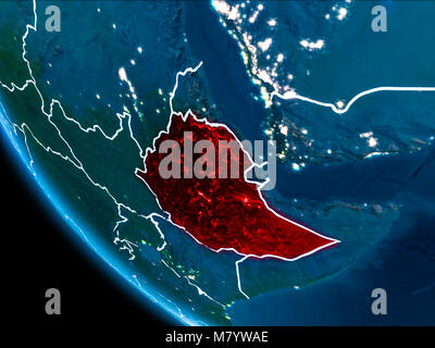 Map of Ethiopia in red as seen from space on planet Earth at night with white borderlines and city lights. 3D illustration. - Stock Photo