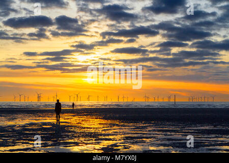 Crosby, Merseyside. 13th March 2018. UK Weather.  After a beautiful spring like day of sunshine and blue skies, - Stock Photo