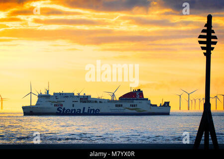 StennaLine ferry at Crosby, Merseyside. 13th March 2018. UK Weather.  After a beautiful spring like day of sunshine - Stock Photo