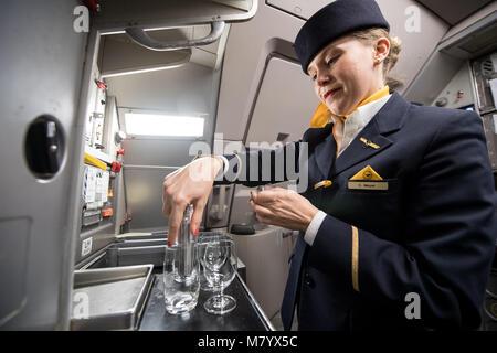 08 March 2018, Germany, Frankfurt: Lufthansa flight attendant Mrs Meyer prepares glasses with drinks for boarding - Stock Photo