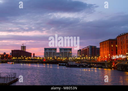 Albert Dock; Liverpool; Merseyside. 14th March 2018. UK Weather; Colourful sunrise over the city waterfront. Early - Stock Photo