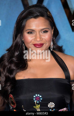 London, UK. 13th Mar, 2018. Mindy Kaling attends the 'A Wrinkle in Timel' European premiere at  BFI Imax on March - Stock Photo
