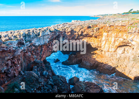Devils Mouth, Boca do Inferno is a natural phenomenon occurring at the point where a rock formation meets the Atlantic - Stock Photo