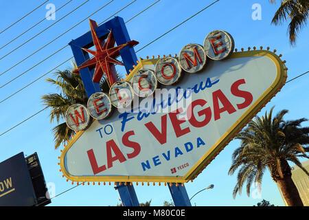 Fabulous Las Vegas Sign on the South Las Vegas Boulevard - the 'Strip' - in Nevada. - Stock Photo