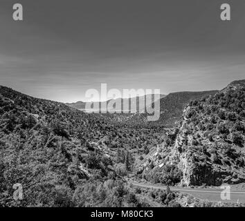Black and white. Kolob Canyon in Zion national park, utah. Mountain road, overlooking the valley below, bushes and - Stock Photo
