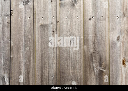 A close-up of grey, vertical wooden slats nailed a modern beach shelter in Bexhill-on-Sea, East Sussex, UK - Stock Photo