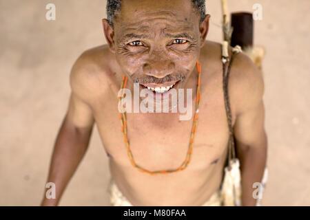 A Sah Bushman near Ghanzi, Botswana. - Stock Photo