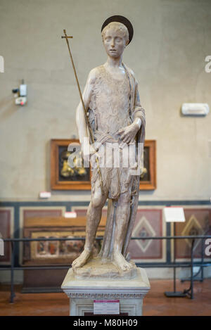 Florence. Italy. Marble statue of St John the Baptist (ca.1450-1455) by Donatello and Desiderio da Settignano, Museo - Stock Photo