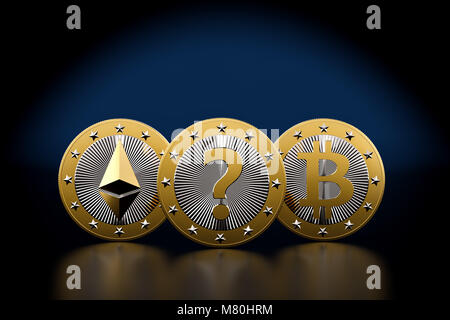 Bitcoin and Ethereum - What is the next BIG thing in Crypto Currencies - 3D Rendering - Stock Photo