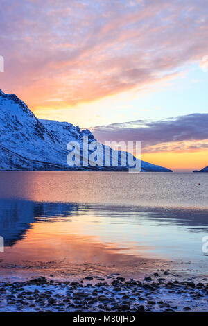 sunset at erdsfjordbotn ,Arctic Circle Kvaloya island Troms Tromso norway 2018 - Stock Photo