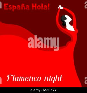 Traditional spanish flamenco. Woman in red dress is dancing - Stock Photo