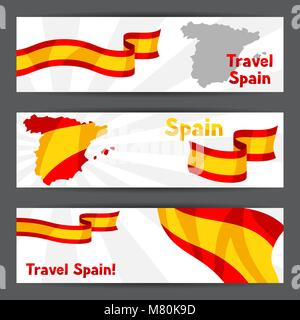 Banners with flag and map of Spain. Spanish traditional symbols and objects - Stock Photo