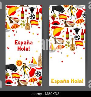 Spain banners design. Spanish traditional symbols and objects - Stock Photo