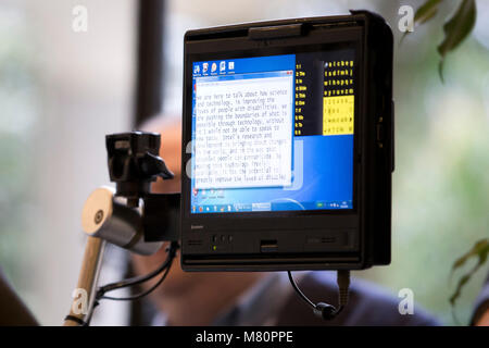 Professor Stephen Hawking ACAT intel computer screen is pictured as he speaks to media at a press conference in - Stock Photo