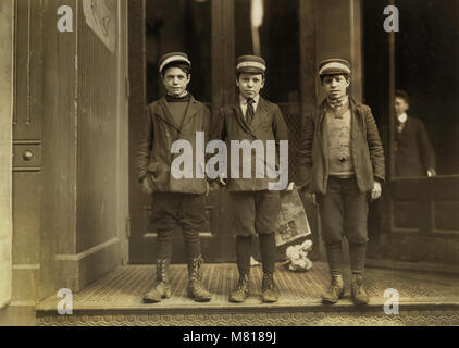 Three Messenger Boys, Portrait Standing, Hartford, Connecticut, USA, Lewis Hine for National Child Labor Committee, - Stock Photo