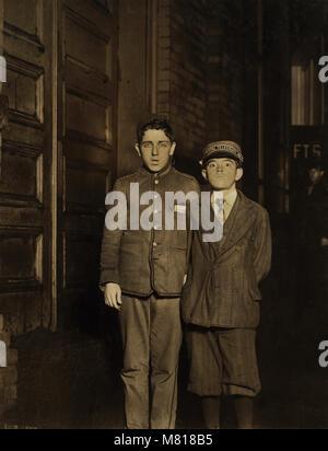 Samuel Weinstein and William Locke, Two Night Messengers, Portrait Standing, Falls River, Massachusetts, USA, Lewis - Stock Photo