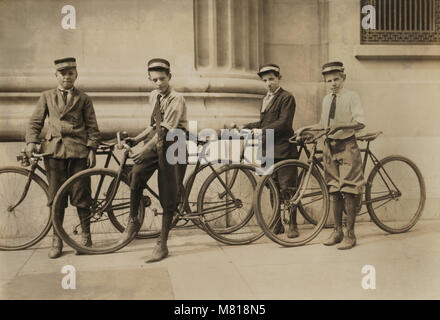 Group of Western Union Messengers, Portrait with Bicycles, Norfolk, Virginia, USA, Lewis Hine for National Child - Stock Photo