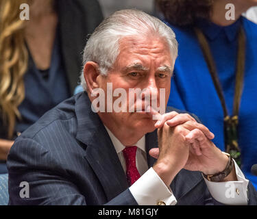 New York, USA, 28 Apr 2017. United States Secretary of State Rex Tillerson appears pensive during a United Nations - Stock Photo