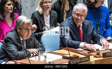 New York, USA, 28 Apr 2017. United States Secretary of State Rex Tillerson  (R) sits next to United Nations Secretary - Stock Photo