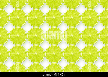 huge detailed background made from many lime slices on white, seamless pattern - Stock Photo