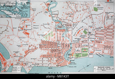 city map from the year 1892: Singapore, digital improved reproduction of an original print from the year 1895 - Stock Photo