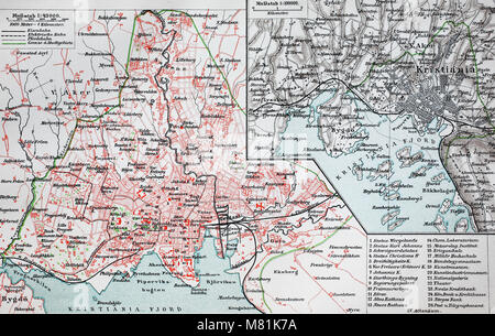 city map from the year 1892: Kristiania, now Oslo, Norway, digital improved reproduction of an original print from - Stock Photo