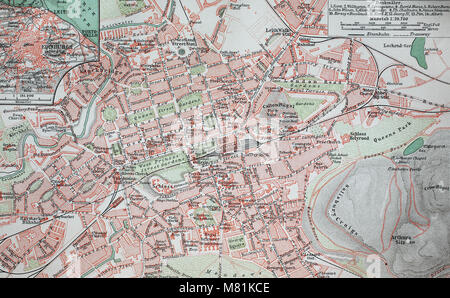 city map from the year 1892: Edinburgh, Scotland, digital improved reproduction of an original print from the year - Stock Photo