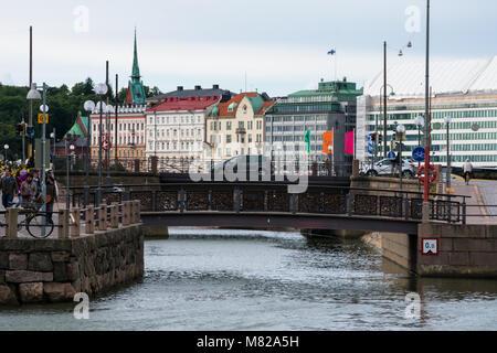 Helsinki, Finland. August 26, 2017. View of Helsinki old buildings and bridges - Stock Photo